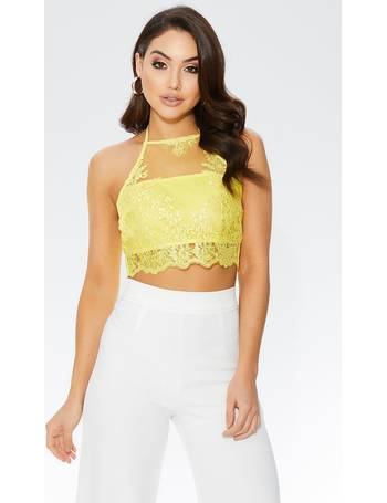 f3f907ed1479a Yellow Crochet Floral Applique Crop Top from Quiz Clothing