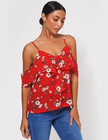 c422315f96 Poppy Red Floral Bardot Frill Top from The Fashion Bible