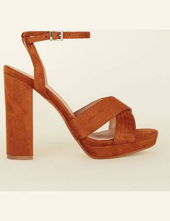 e34e664877d Wide Fit Tan Suedette Cross Strap Platform Sandals New Look from New Look