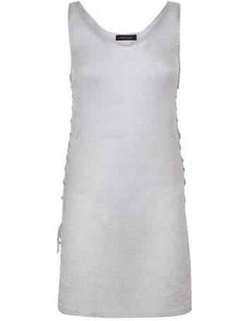 1fc51c3cae Silver Glitter Lace-Up Side Sheer Beach Dress New Look from New Look