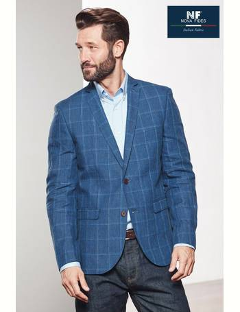 14940559504c Blue Check Signature Linen Slim Fit Nova Fides Blazer from Next