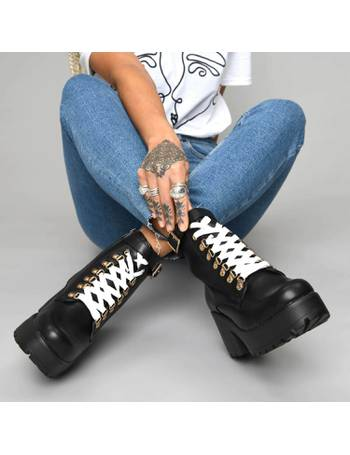 a7bda68c610 Black Chunky Platform Biker Boots with White Laces and Ski Hooks from KOI  Footwear