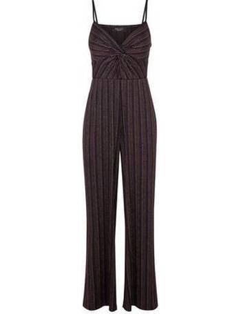 d341f072946 Petite Black Glitter Stripe Jumpsuit New Look from New Look
