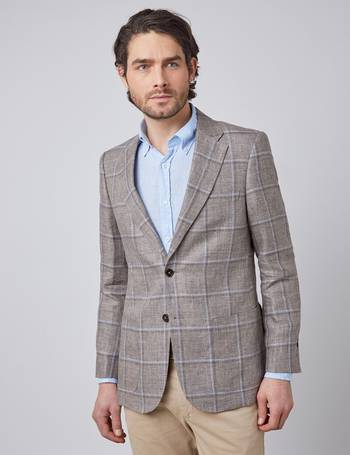 """New Hawes /& Curtis Mens Suit Trousers 1913 Slim Fit Grey /& Blue Check 30//34/"""""""