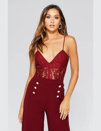 Berry Lace Corset Strappy Bodysuit from Quiz Clothing d0a6a558f