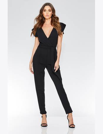 aa4f5a2203 Black Crepe Cross Over Frill Sleeve Jumpsuit from Quiz Clothing