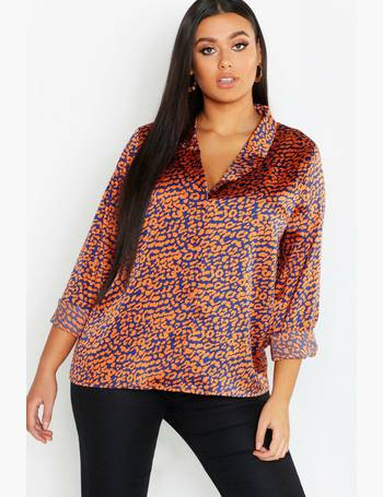 157b02519a2524 Plus Coloured Animal Revere Collar Shirt from Boohoo