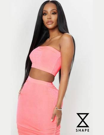 44020b941fc1fd Shape Pink Slinky Neon Bandeau Crop Top from Pretty Little Thing