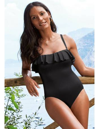 a543989162 Black Ruffle Shape Enhancing Bandeau Swimsuit from Next
