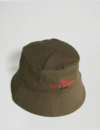 b620f0ede38 ASOS DESIGN. bucket hat in khaki with embroidery