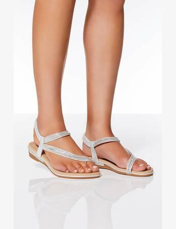 34af20b3a211 Quiz. Silver Diamante Slant Strap Flat Sandals. from Quiz Clothing. £24.99. Rose  Gold ...