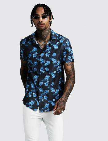 86aab777 Shop BoohooMan Mens Floral Shirts up to 70% Off | DealDoodle