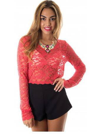 331db99d75fc41 Aliana Long Sleeve Lace Crop Top in Red from The Fashion Bible