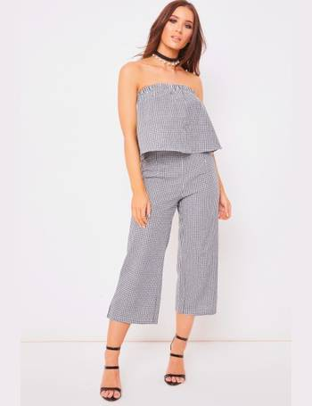 f0bfb24f426 Clarissa Black Checked Bardot Jumpsuit from Miss Pap