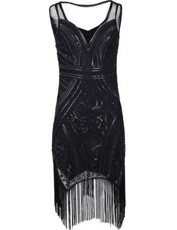 73ba12df Womens Izabel London Black Sequin Flapper Bodycon Dress- Black from Dorothy  Perkins