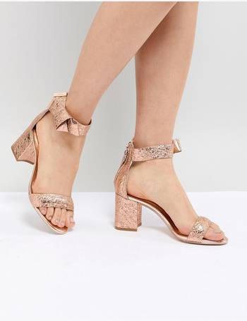 d48fb65bec1245 Ted Baker. Kerrias Rose Gold Leather Block Heeled Sandal. from ASOS