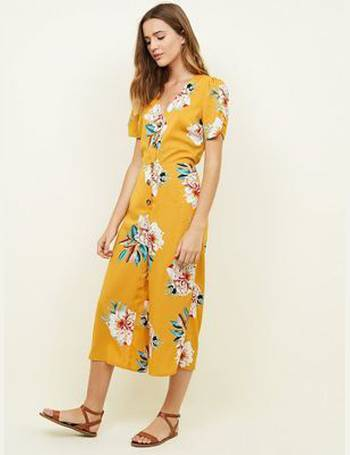 ac369bee2341 Cameo Rose. Yellow Floral Print Button Jumpsuit New Look