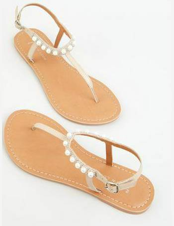 a005764b7e7 Wide Fit Nude Leather Faux Pearl Strap Sandals New Look from New Look