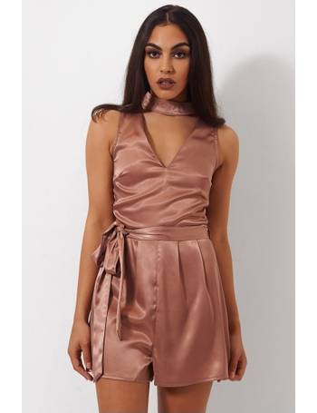 2665823510 Lilly Nude Satin Choker Playsuit from The Fashion Bible
