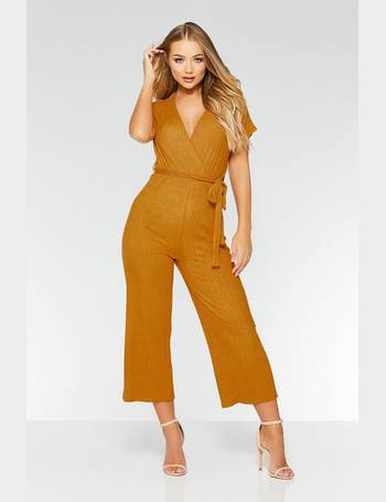 75475958369 Mustard Wrap Front Tie Belt Culotte Jumpsuit from Quiz Clothing