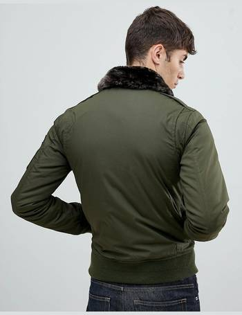 e03cf9a86 Air bomber jacket with detachable faux fur collar in green/brown