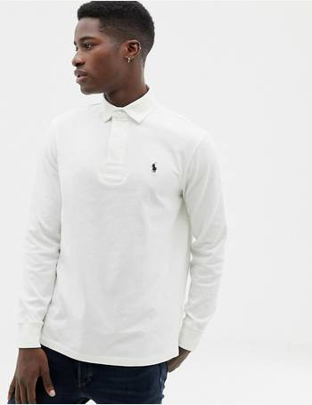 de2318fe587 regular fit long sleeve rugby polo in off white from ASOS