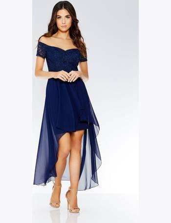 78a00f06f5b1 Navy Lace Bardot Dip Hem Dress from Quiz Clothing