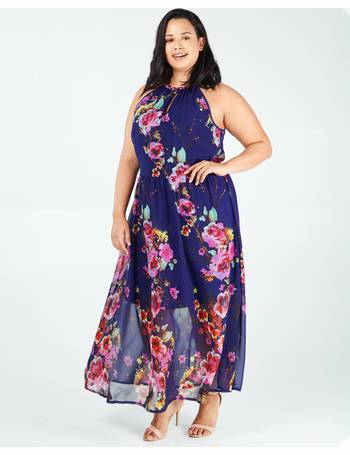 400e030f600 AURORA - Navy Keyhole Halterneck Floral Print Maxi Dress from Blue Vanilla