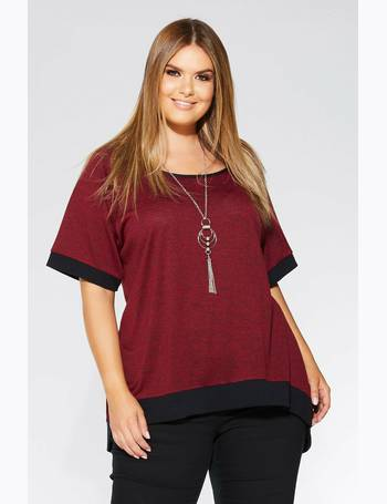 4d6a9b9f476 Curve Berry And Black Knit Contrast Necklace Top from Quiz Clothing