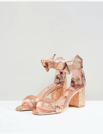 004d8e9d7c8b50 Ted Baker. Kerrias Rose Gold Leather Block Heeled Sandal