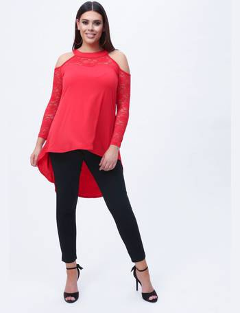 f9ce138fbd56e6 Plus Nayah Lace Paneled Cold Shoulder Top in Red from Pink Clove