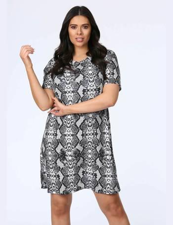 7f2d62d87d Plus Jannay Snake Print Short Sleeve Long Dress from Pink Clove