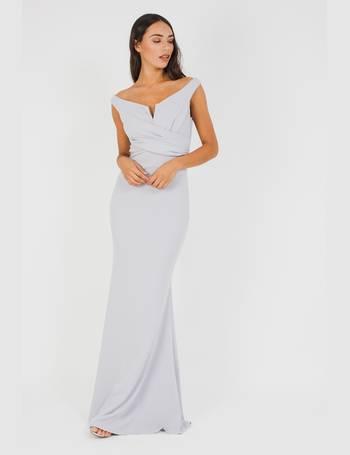 2b87d38238 WalG Off Shoulder Grey Maxi Dress from Tfnc
