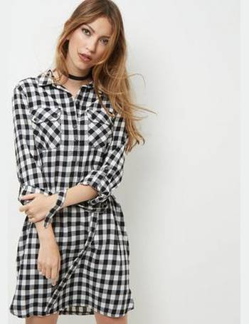6a605f7331 Black Gingham Check Slogan Back Shirt Dress New Look from New Look
