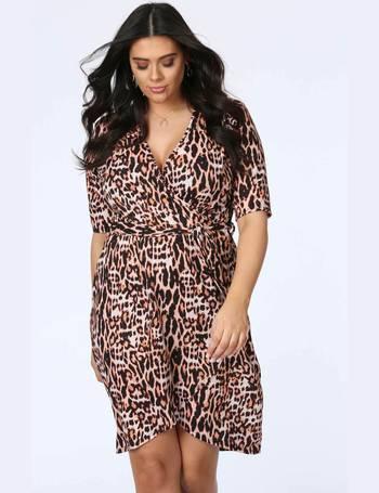 ecb578de6c Plus Oprah Leopard Print 3 4 Sleeve Wrap Dress from Pink Clove