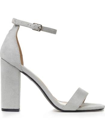 da8881dfc8 Light Grey Suede Barely There Heels with Ankle Strap from KOI Footwear