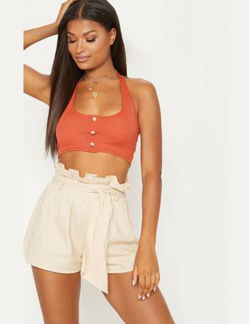 165af87725248c Rust Ribbed Halterneck Button Crop Top from Pretty Little Thing
