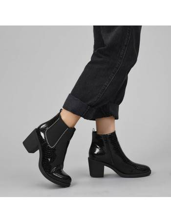 8f708ea158c Black Faux Patent Croc Ball Studded Chelsea Boots with Mid Block Heel from KOI  Footwear