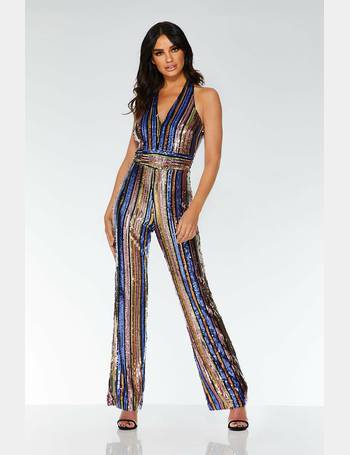 92f1509285 Gold Pink and Purple Sequin Stripe Jumpsuit from Quiz Clothing