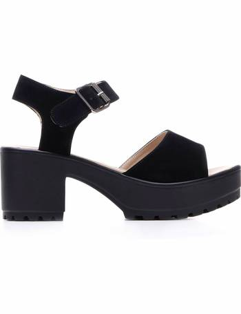 d8b91ba7e34 Simple Ankle Strap Peep Toe Black Suede Sandals from KOI Footwear