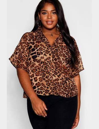 28466222369d28 Plus Chiffon Animal Print Blazer Shirt from Boohoo