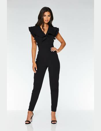 8f96a58763 Black Double Frill V Front Jumpsuit from Quiz Clothing
