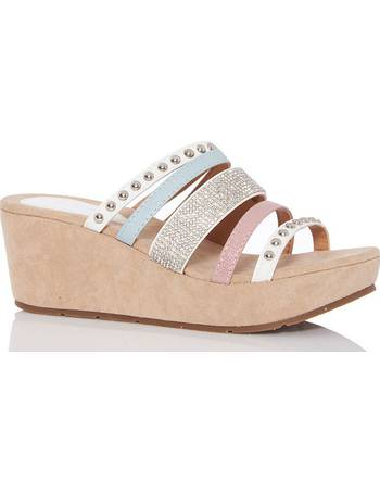 e9b8b05a14 Nude Diamante Multi Strap Wedges from Quiz Clothing