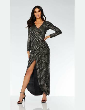 d33643e88569 TOWIE Black and Gold Sequin Wrap Maxi Dress from Quiz Clothing