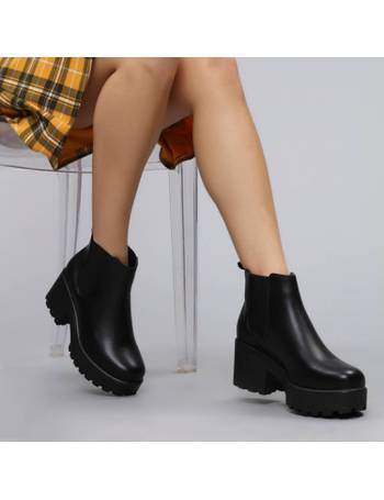 49c64726ddf Black Leather Chunky Platform Chelsea Boots from KOI Footwear