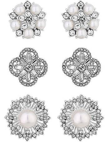 650e3b06b Mood by Jon Richard. Mood White 3 Pack Floral Stud Earring