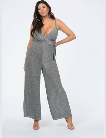c86f41ecf15 Plus Imani Strappy Wrap Front Jumpsuit in Silver from Pink Clove