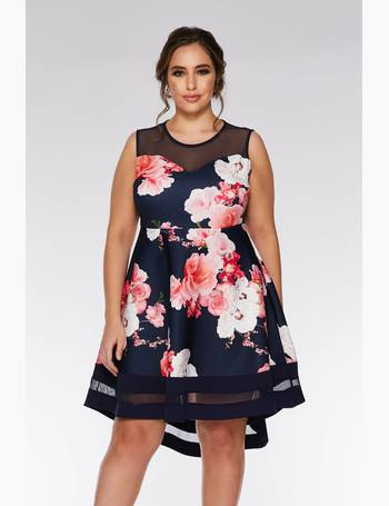 068d2174ec Curve Navy And Pink Floral Dip Hem Dress from Quiz Clothing