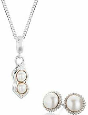 3c477eb39 Sterling Silver Pearl Earrings And Pendant Set from H Samuel