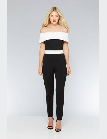 c86b0bf934 Black And White Contrast Bardot Jumpsuit from Quiz Clothing